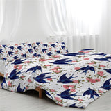 Blue Swallow Birds Duvet Cover With Pillowcases