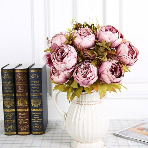 13 Head Silk Peony Large Bouquet | Artificial Flowers Decoration