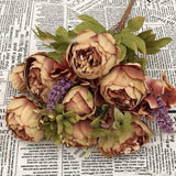 13 Head Silk Peony Large Bouquet | Artificial Flowers Decoration - Woodland Gatherer