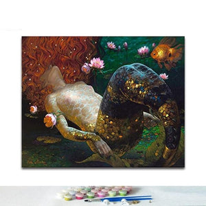 Red & The Deep Blue Sea | Paint by Numbers Kit | DIY Art Kit | Mermaid Painting