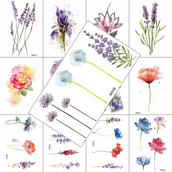 Watercolour Flowers Temporary Tattoos | Lavender Dandelion Poppies and More