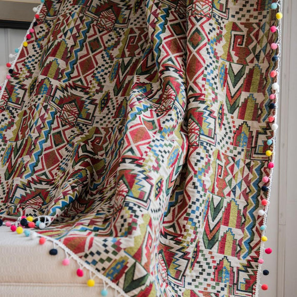 Multicolour Gypsy Boho Curtains With Tassels