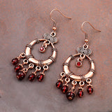 Bohemian Red Stone Beads Gypsy Earrings