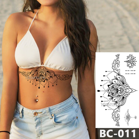 Chest Temporary Tattoo | Waterproof Lace Totem Lotus Mandala