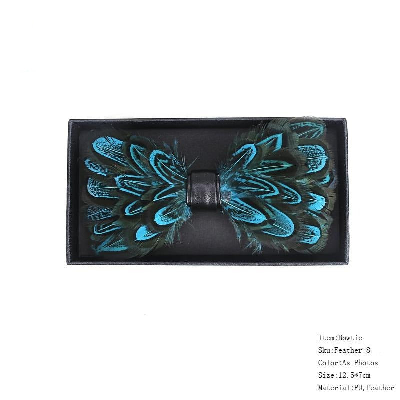 Leather & Peacock Feather Bow Ties