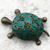 Enamel Turtle Brooch | Antique Bronze with Green Rhinestones