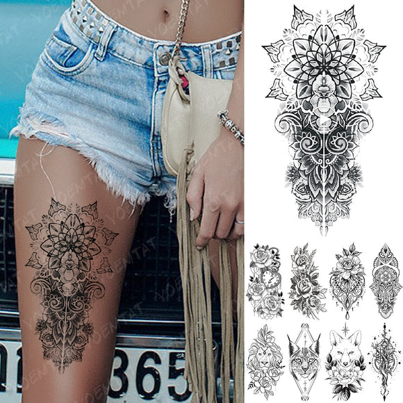 Waterproof Temporary Tattoos | Snake Flower Rose Mandala Lace Fox Lion Cat Tree