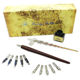 Wooden & Glass Dip Calligraphy Pens Set | 10 Nibs