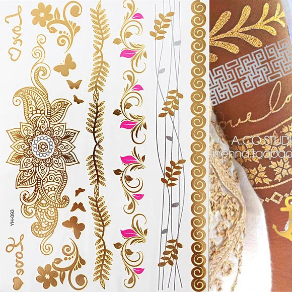 Boho Metallic Gold Feathers Festival Temporary Tattoos