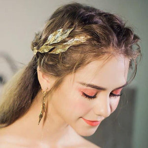 Grecian Gold Leaf Hairband & Earrings Set