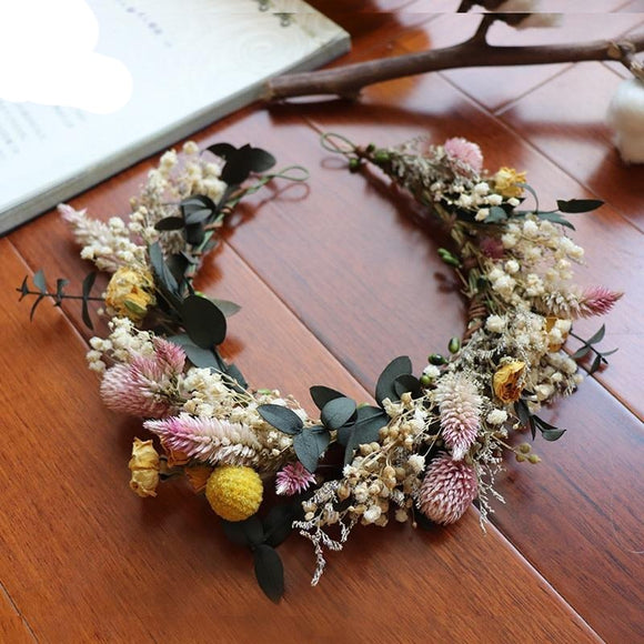 Dried Flower Arrangement Handmade Crown | Vintage Flower Forest Style