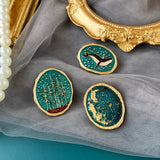 Oval Starry Sky Brooches | Whale, Forest, Galaxy