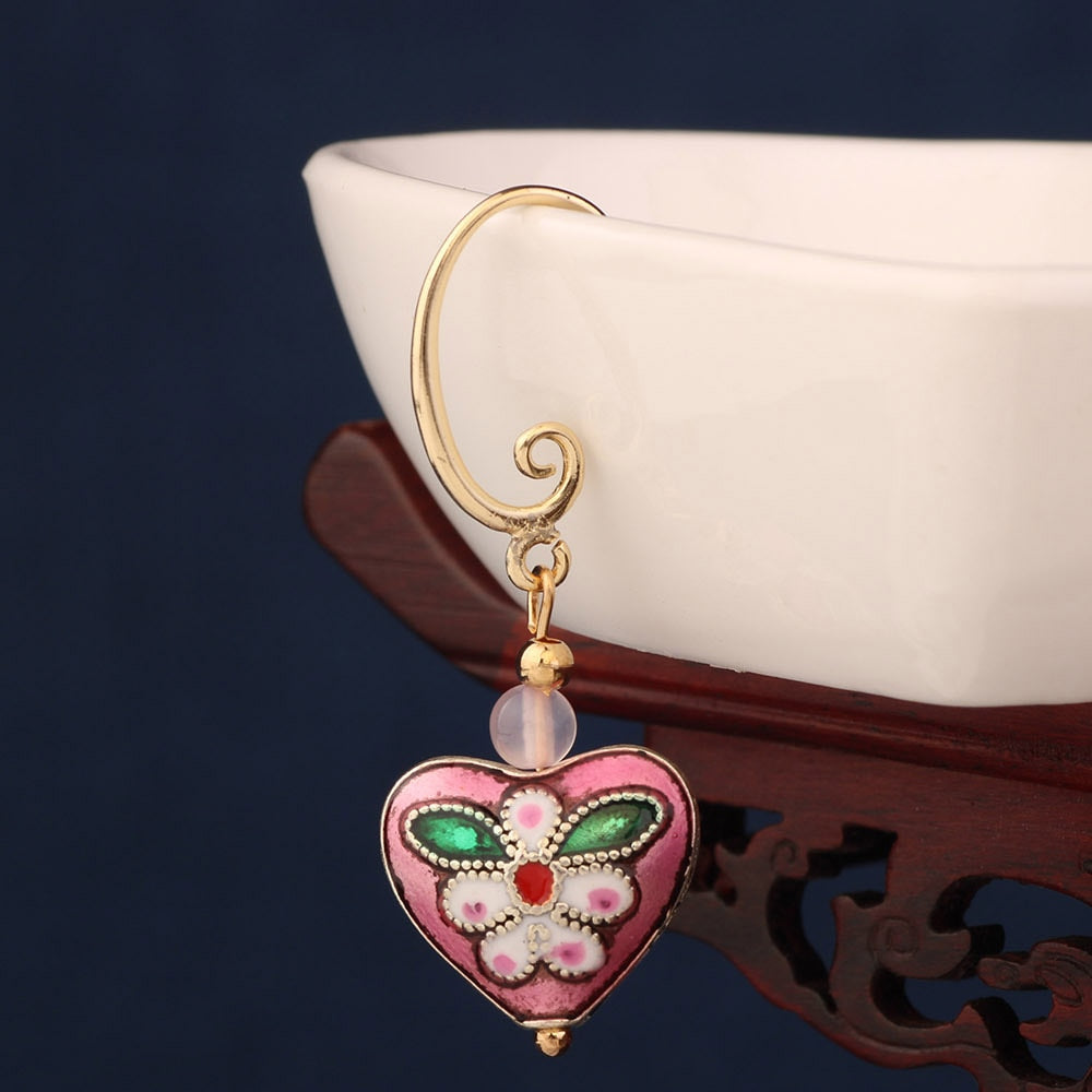 Pink Heart Cloisonné Earrings