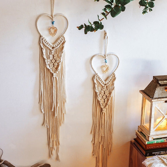Heart & Star Macrame Wall Hanging Tapestries | Bohome Decor