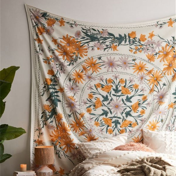 Retro Boho Floral Tapestry Wall Hangings