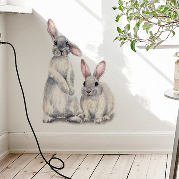 Two Cute Rabbits | Removable Wall Stickers