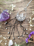 Witches Bells |  Protection Door Charm | Crescent Moon Quartz Crystal