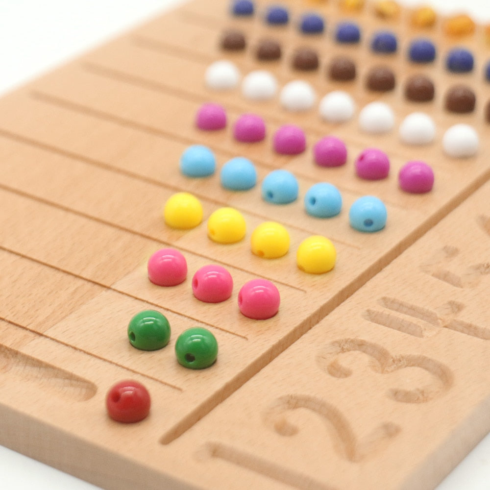 Math Beads 1-10 Number Tracing Board | Wooden Montessori Educational Math Toys
