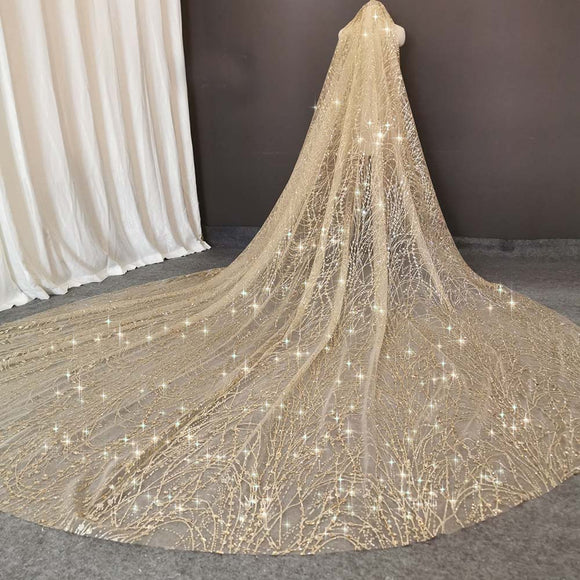 Glittery Sequins Dust Sparkling Champagne Wedding Bridal Veil | 3 M Long