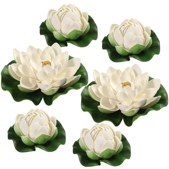 Six White Artificial Floating Lotus Lilly Flowers | Pool Decoration Photoshoot Prop