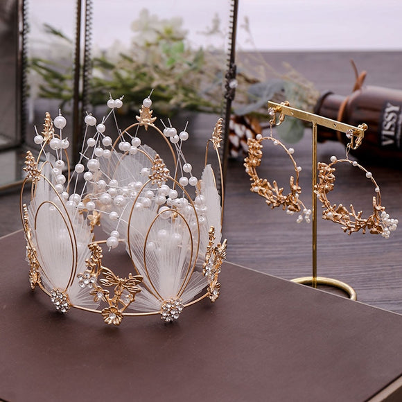 Swan Queen | White Feather Crown & Earrings Sets