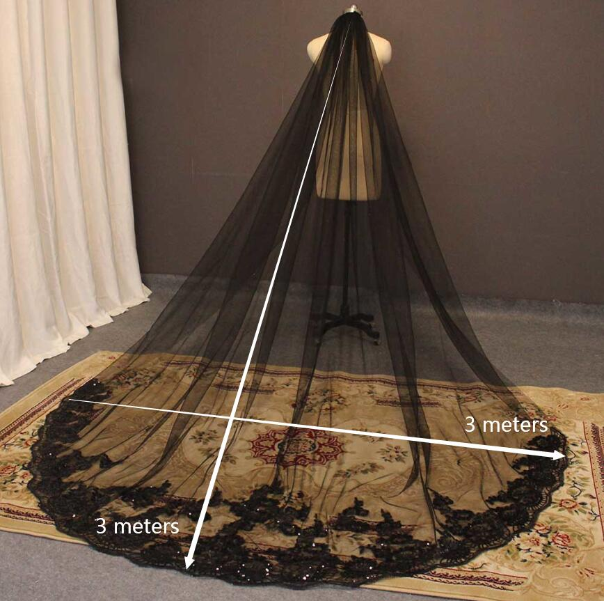 Cathedral Black Wedding Veil | 3 Meters Long Bridal Veil with Comb