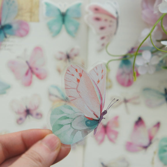38pcs Watercolour Butterfies PVC Stickers | Scrapbooking DIY Craft