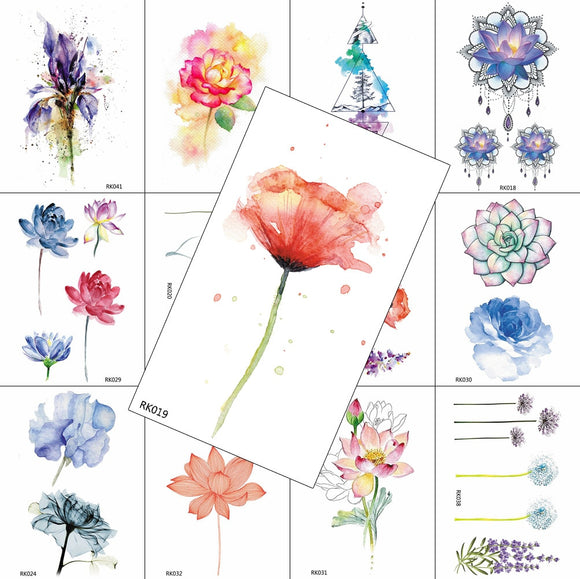 Watercolour Flowers Temporary Tattoos