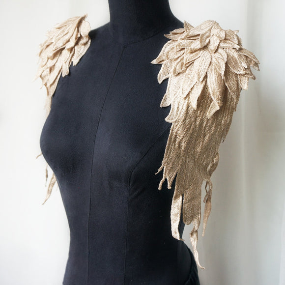 2PCS Golden Feather Angel Wings | Embroidery Appliqués