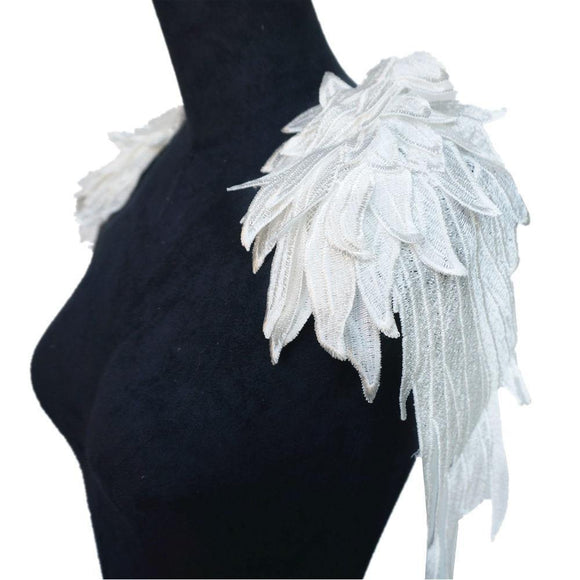 2PCS White Feather Angel Wings | Embroidery Appliqués