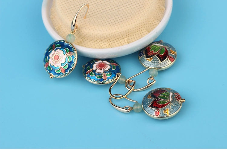 Vintage Flower Cloisonné Enamel Earrings