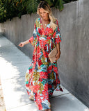 Boho Floral Coastal Wrap Dress
