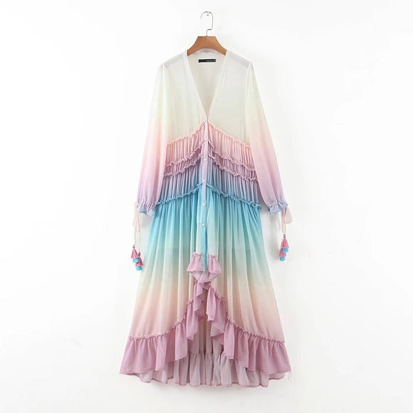 Rainbow Cloud Button Up Long Ruffle Dress