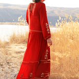 Boho Rust Red Floral Embroidery Maxi Dress