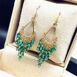 Bohemian Water Drop Crystal Beads Earrings