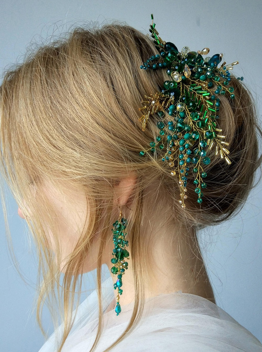 Green Envy Crystal Hair Vine Hair Piece Bridal Gold Hair Accessories & Earrings