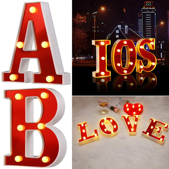 Red Circus Letters LED Light | 26 Letters & 10 Numbers & Hearts