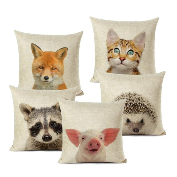 Animal Love Linen Cushions Covers