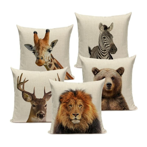 Majestic Beasts Linen Cushion Covers