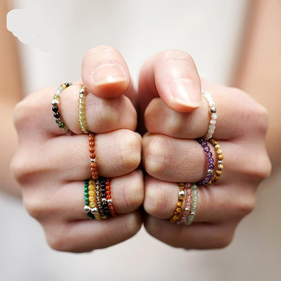 Bohemian Natural Stone Bead Rings