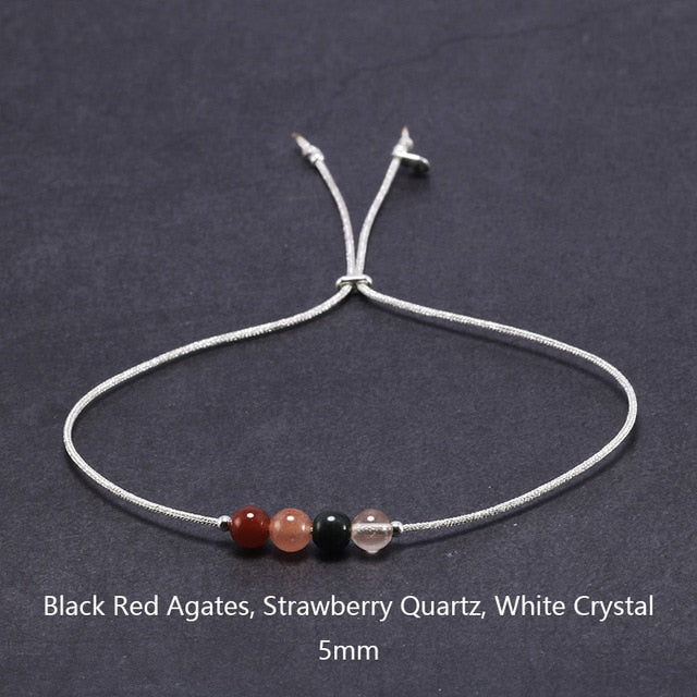 Silver Rope Bracelet | 925 Sterling Silver Rope With Natural Crystal