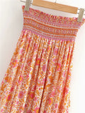 Vintage Peach | Boho Rouged Maxi Skirt