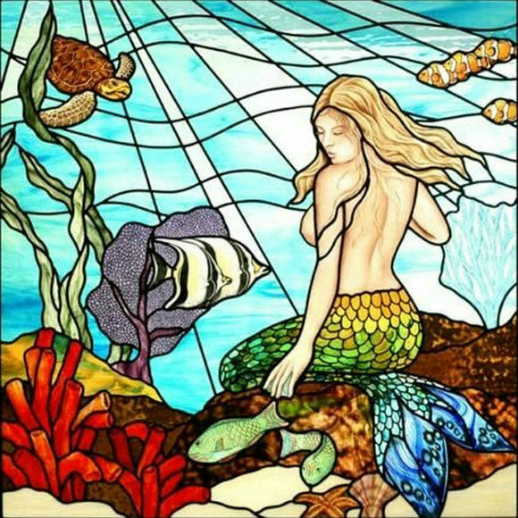 Stained Glass Painting Mermaid | CRYSTAL MOSAIC DIY PAINTING