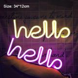 Hello | Colourful Neon Lights | Battery/USB LED Night Lights