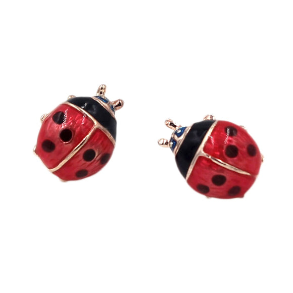 Enamel Ladybug Stud Earrings