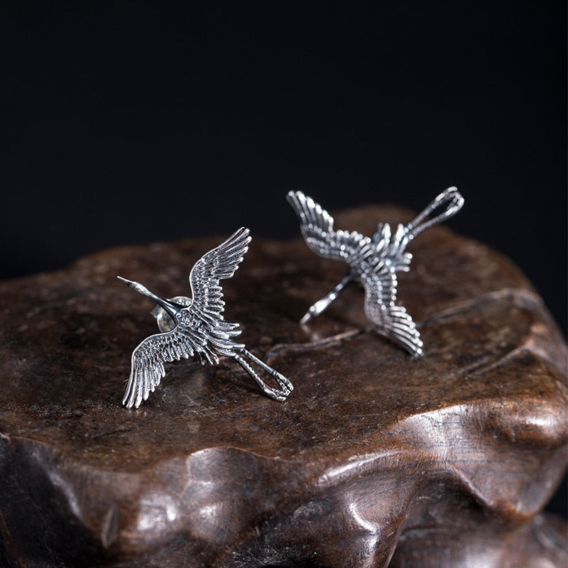 Flying Crane Stud Earrings | 925 Sterling Silver