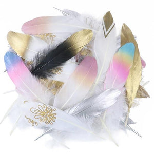 24 Glittery Gold Goose Feathers for Crafts