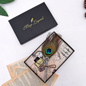 Handmade Peacock Feather Quill Dip Fountain Pen + Writing Ink 3 Nibs Kit Set with Gift Box