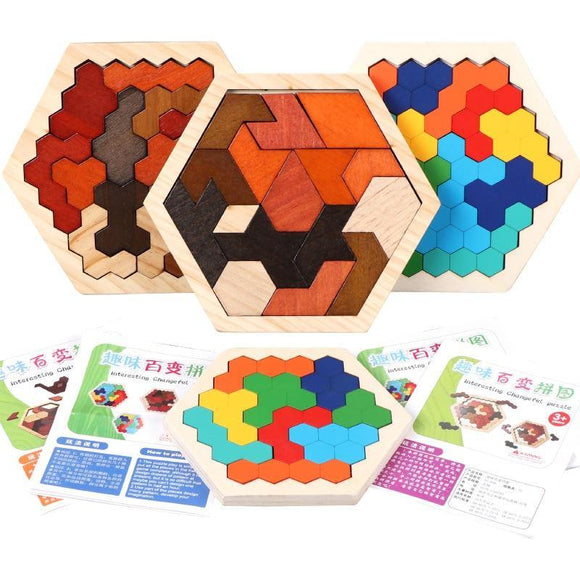 Wooden Hexagon Honeycomb Kids Puzzle Toy Colourful Shapes Educational Toys