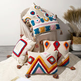 Boho Geometric Handmade Embroidered Cotton Cushion Covers